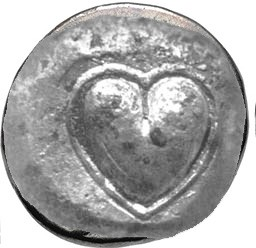Heart shaped coin for Kate Dolan's research into the heart's association with love