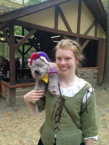 Meg Weidman and Toto pose at the Maryland Renaissance Festival